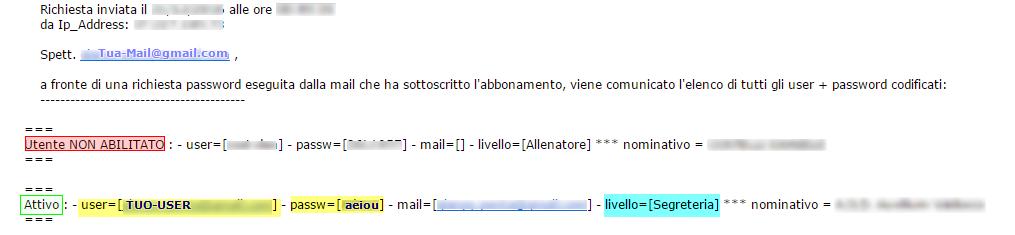 Mail di Riepilogo Utenze di Accesso